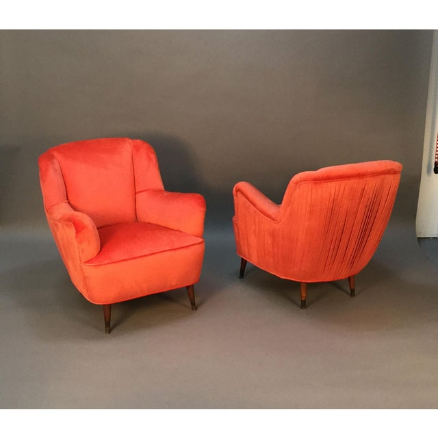 Mid Century Club Chairs With Velvet Pleat - Pair - Image 5 of 9