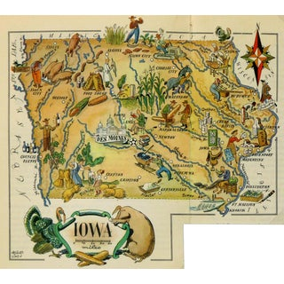 Vintage 1946 Iowa Pictorial Map