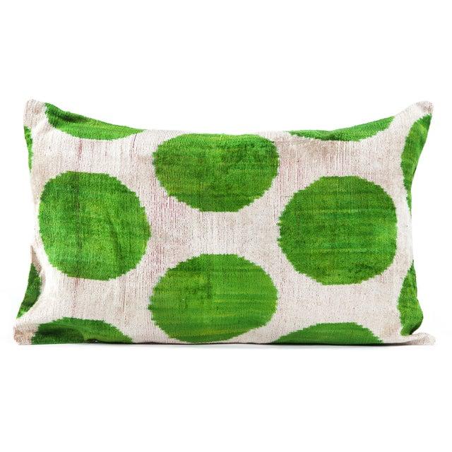 Image of Green Polka Dot Silk Velvet Ikat Pillow
