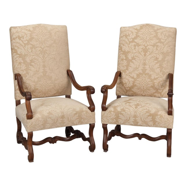 Antique Os Du Mouton Carved Armchairs - A Pair - Image 1 of 9