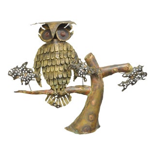 Vintage Mid Century Modern Perched Owl Brutalist Wall Sculpture Curtis Jere Era