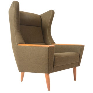Danish Modern Wingback Lounger in Olive