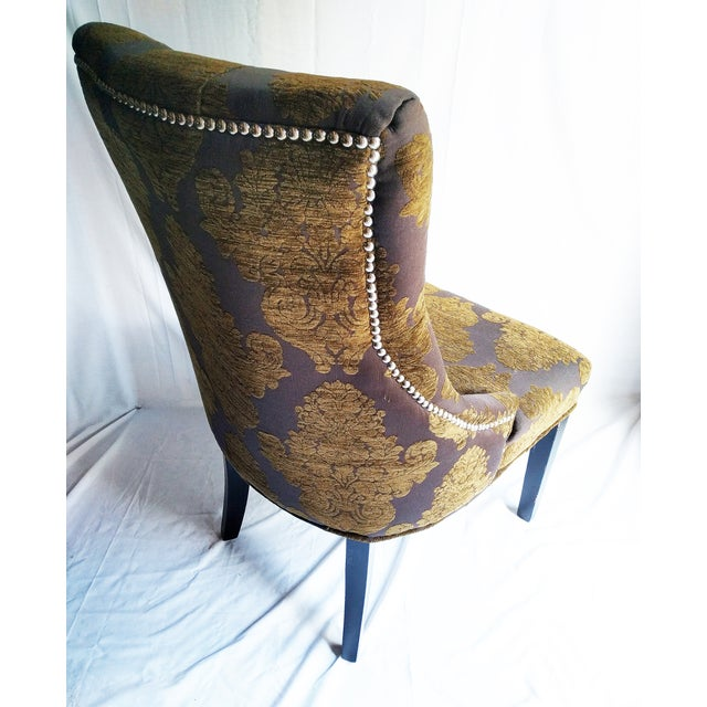 Image of Tufted Olive Brocade Accent Chair