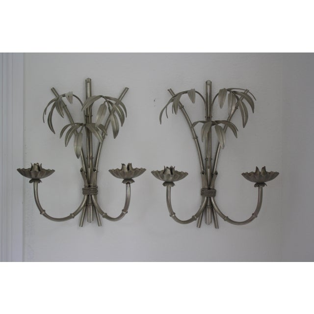 Image of Vintage Italian Faux Bamboo Sconces - A Pair