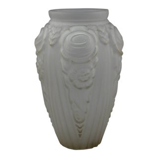 French Art Deco Frosted Glass Deco Relief Vase