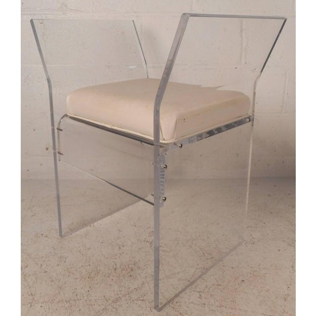 Mid-Century Modern Vinyl and Lucite Bench - Image 2 of 6