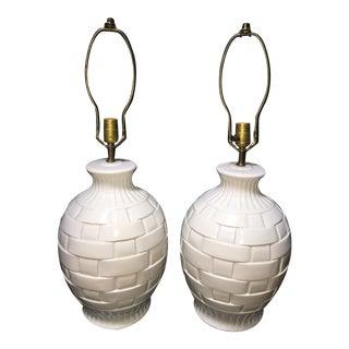 Vintage White Ceramic Lattice Lamps - a Pair