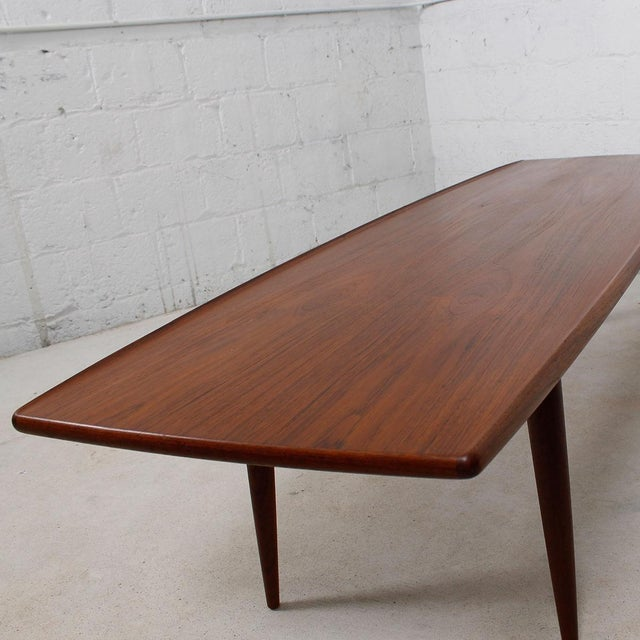 Long Danish Modern Teak Surfboard Coffee Table - Image 5 of 7