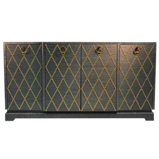 FABULOUS GRASSCLOTH GOLD STUDDED CABINET IN THE MANNER OF TOMMI PARZINGER