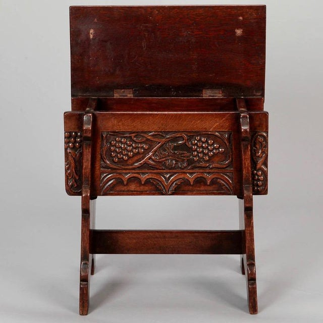 French Hand Carved Oak Stool with Grapes - Image 6 of 9