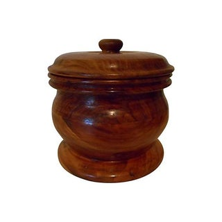 Round Wood Storage Jar with Lid