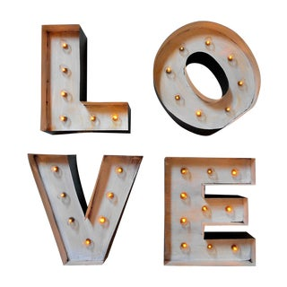 Industrial Light Up Marquee Block Letters - Love
