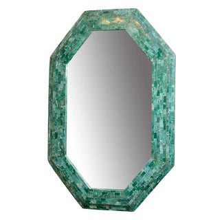 ELEGANT EMERALD MAITLAND-SMITH LARGE TESSELLATED MARBLE MIRROR