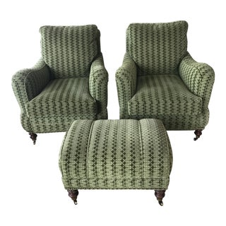 Upholstered Lounge Chairs & Ottoman - Set of 3