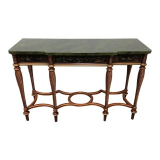 John Widdocomb Green Faux Marble Console Table From the Mario Buatta Collection