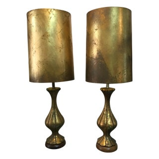 James Mont-Style Gold Leaf Lamps - A Pair