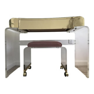 Lucite & Brass Waterfall Vanity & Stool - A Pair