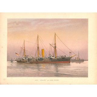 Hms Mohawk, Naval Ship, Chromolithograph, 1890