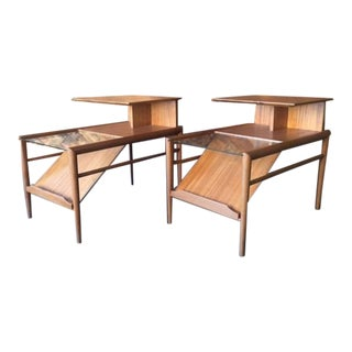 Brown Saltman Refinished Mahogany Glass Side Tables