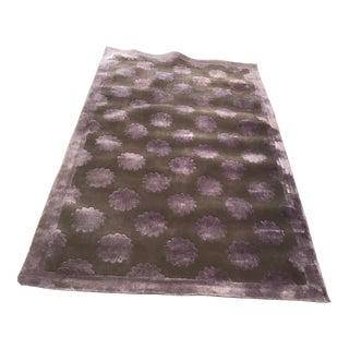 Designer New Zealand Wool/ Silk Purple Flower Rug - 5′3″ × 8′8″