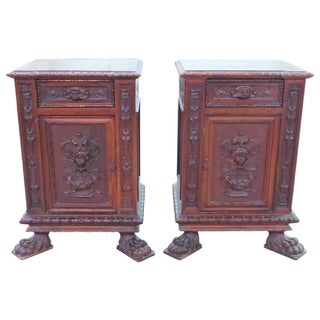 19th C. Italian Carved Walnut Stands - Pair