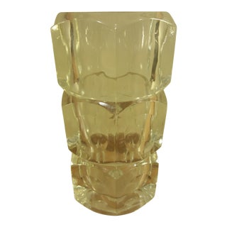 Crystal Block Glass Vase