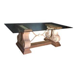Double Pedestal Stone Base Dining Table W/ Beveled Glass Top