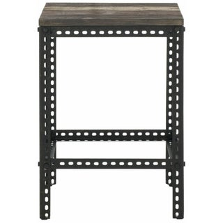 Industrial End Table with Wood Surface