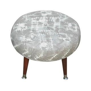 Round Footstool With Hand Dyed Grey Shibori Fabric