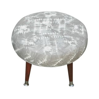 Round Footstool With Hand Dyed Grey Shibori Fabric