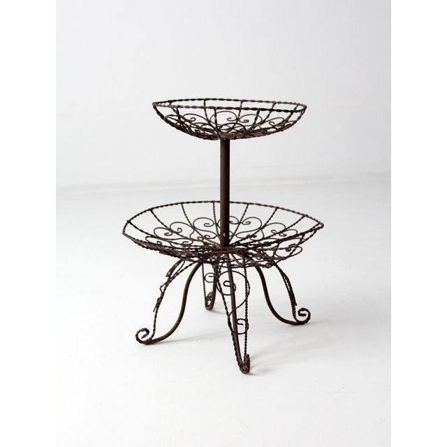 Vintage wrought iron tiered plant stand chairish - Tiered metal plant stand ...