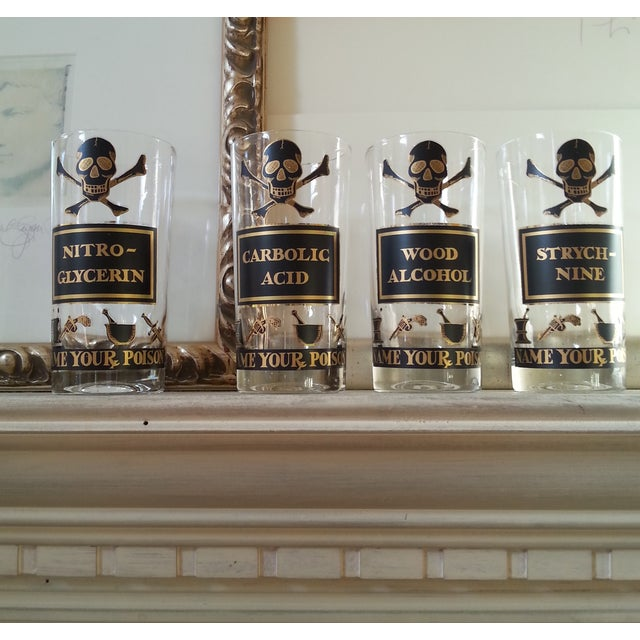 """Image of Vintage Highball Glasses, """"Name Your Poison"""" - 4"""