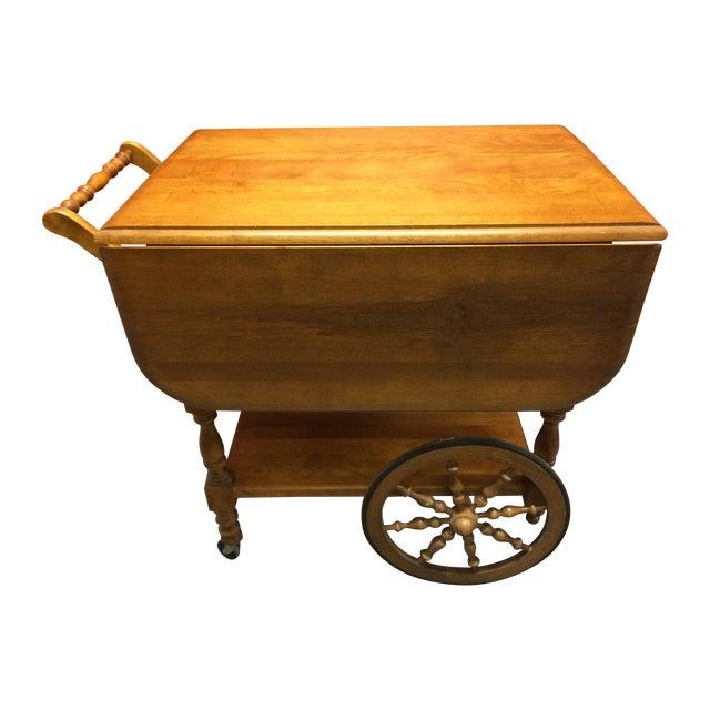 Vintage Solid Maple Drop-Leaf Tea Cart - Image 1 of 7