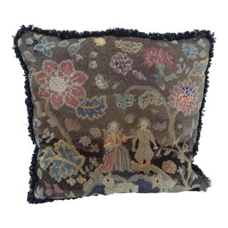 Antique Early American Needlepoint Pillow