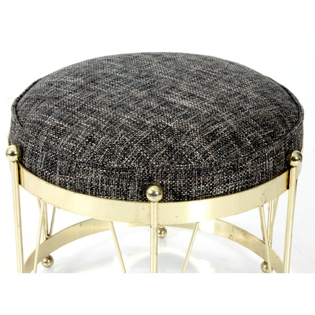 Mid-Century Modern Round Polished Brass Drum Stool - Image 2 of 4