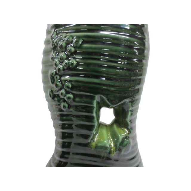 Pair Mid-Century Green Glazed Lamps - Image 6 of 6