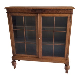 Antique English Oak & Glass Bookcase