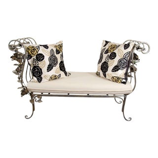 Vintage Hand Wrought Floral Iron Bench