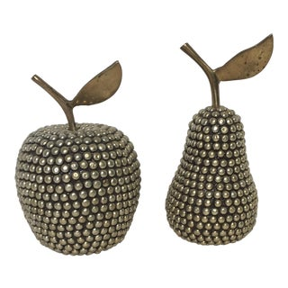 Modern Glam Silver & Gold Studded Fruit - A Pair