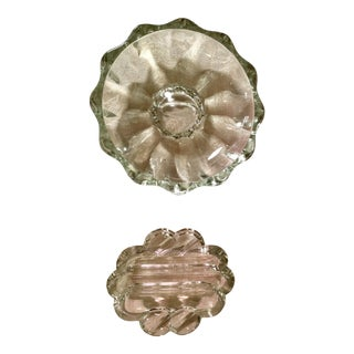 Art Deco Clear Glass Ashtrays- Set of 2