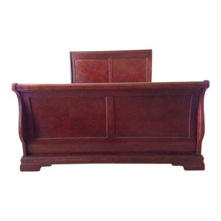 Contemporary Mahogany Queen Sleigh Bed