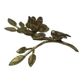 Brass Bird & Flower Figurine