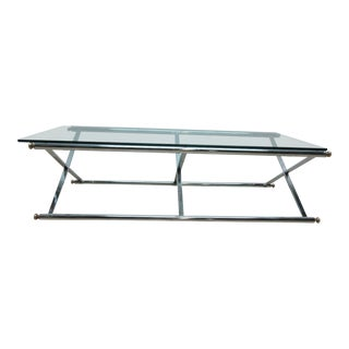 Long Vintage Mid-Century Regency Campaign X Base Chrome Glass Top Coffee Table