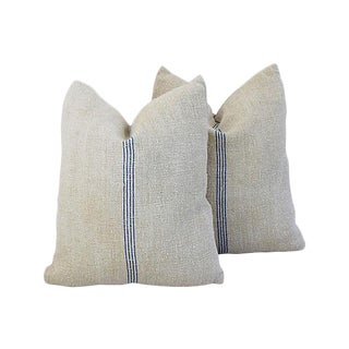 Custom Tailored French Homespun Textile Feather/Down Pillows - Pair