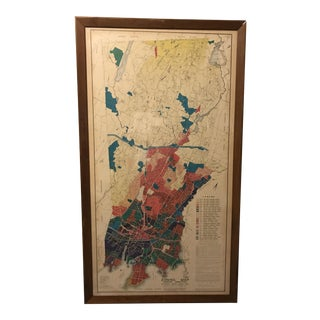 Vintage Stamford Connecticut Framed Zoning Map