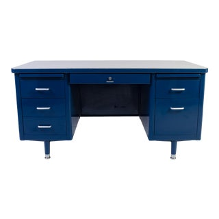 Marine Blue Steelcase Tanker Desk