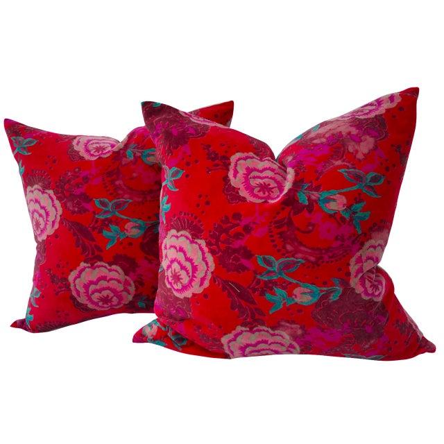 Velvet Rose Pillows- A Pair - Image 1 of 5