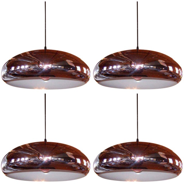Set of 4 Perforated Chrome Pendants - Image 1 of 1