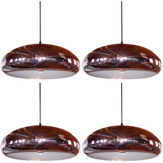 Set of 4 Perforated Chrome Pendants