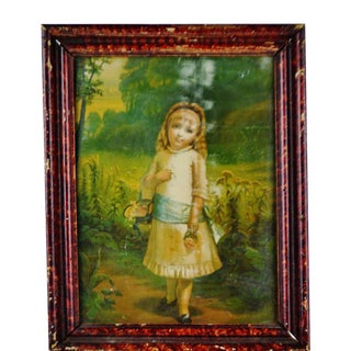 Vintage Print of a Girl Holding Flower Basket